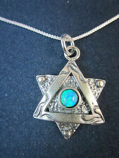 "Artisan Sterling Silver Star of David with Opal Pendant Necklace 18"" 925 Chain"