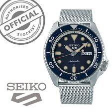 Seiko 5 Sports Blue Dial Silver Steel Mesh Strap Automatic Mens Watch SRPD71K1