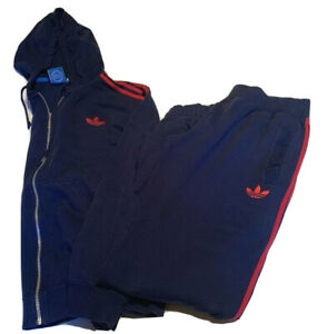 2 Pc Lot Adidas Originals Full Zip Hoodie Sweatshirt Track Suit Set XL Sweatpant