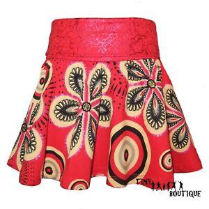 Desigual Girls Skirt Red Floral Kaleidoscope Print Glitter Sequins embellished