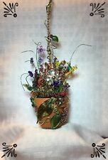 Handcrafted Pot Of Flowers Fan Pull Silver Gold Made With Swarovski Frog Bee