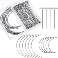Wig Making Pins Needles Wig T Pins and C Curved Needles Weave Hair Needles J9U7
