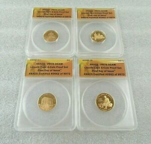 2009 Lincoln Cent 4 Coin Proof Set ANACS PR70 DCAM First Day Issue - AWESOME!