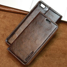 Echt Leder Case f. Apple Samsung Schutzhülle Tasche Cover Handy Smartphone braun