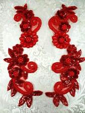 """Sequin Appliques Red Holographic Floral Beaded Mirror Pair Dance Patch 10""""(0183)"""