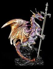 Drachen Brieföffner - Niir - bunt - Fantasy Figur bewacht Schwert Schreibtisch