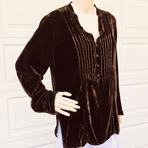 MINT!  CP Shades  M 6 8 10  Brown  Velvet Tunic Top Shirt Blouse Rayon Silk