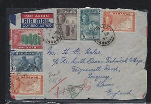 SARAWAK POSTAL HISTORY (PP1509B) 1957 KGVI FRONT 6 STAMPS TAXED TO ENGLAND