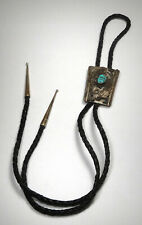 Vintage Native American Sterling Silver/ Turquoise Floral Bolo Tie