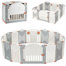 14-Panel Foldable Kid Safety Activity Center Playard w/Locking Gate Baby Playpen