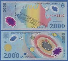 Romania 2000 Lei P 111 1999 UNC Low Shipping! Combine FREE! Polymer note