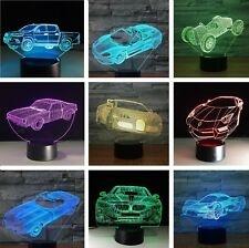 3D Car Truck Night Light 7 Color Change LED Desk Lamp Touch Room Decor Gift