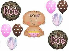 MOSSY OAK It's a Doe Pink Girl Baby Shower Camouflage 9 Mylar & Latex Balloons