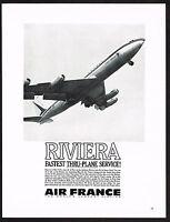 1963 Original Vintage Air France Airline Boeing 707 Jet Plane Photo Print Ad