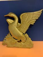 Vintage Mid Century Solid Brass Duck Wall Hanging Pond Decoration India 17''