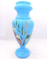"""Antico Bohemien OPACO AZZURRO vaso di cristallo fiori smaltati alta 11"""" C 1880"""
