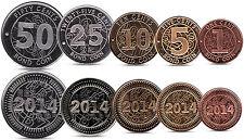 ZIMBABWE CURRENCY SET 1, 5, 10, 25, 50 CENTS BOND COINS 2014 UNC