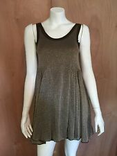 New FREE PEOPLE FP BEACH Cruise Skate Lunch Dress Chocolate Gold Metallic  S NWT