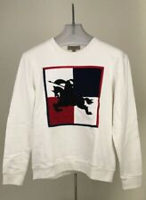 Burberry London England Men's Chequer Ekd Sweatshirt Embroidered Logo White Sz L