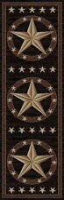 Western Star Round Oval Runner Area Rug Lodge Cabin Texas Brown Black Rustic