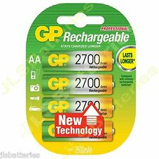 4 x GP AA 2700 Series Rechargeable Batteries mAh Ni-Mh Cordless Phone 2600mAh