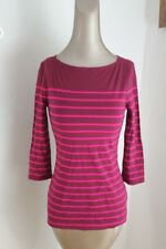 NEW A.n.d Target Womens Dark Red & Pink Stripe 3/4 Sleeve T Shirt Boat Neck  XS