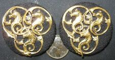 Lot of 2 Real Nice Vintage Fur Clips Pin Goldtone With See Horses