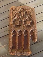 Panneau  fragment bois sculpté gothique flamboyant haute époque