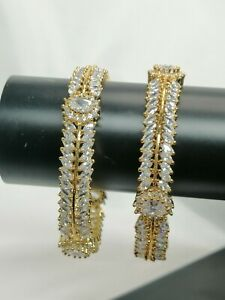 Indian Pakistani 2 Gold Kara Bangles With White American Diamond Stones Size 2.4