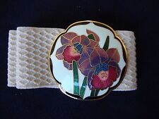 "VINTAGE 1970s CLOISONNE WHITE IRIS FLOWERS BUCKLE ADJUSTABLE 32"" ELASTIC BELT"