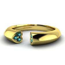 Blue Diamond 14k Yellow Gold Jewelry Heart Wedding Band Ring 0.11 Ctw Natural