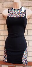 NASTY GAL MINK PINK MULTI COLOUR SEQUIN BLACK BODYCON PARTY XMAS TUBE DRESS XS