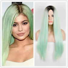 Kylie Jenner Synthetic Wig Green Hair Classic Cap Long Straight Wigs