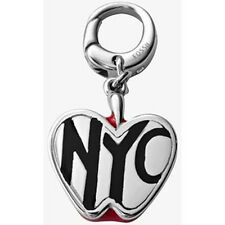 "NWT Fossil Brand Silver Metal - Red Enamel & Black Letters ""NYC"" Apple Charm"