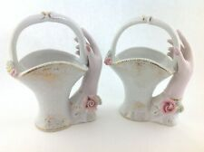 Pair of Vintage Ceramic Hands Holding Baskets Vase in Pink White with Rose