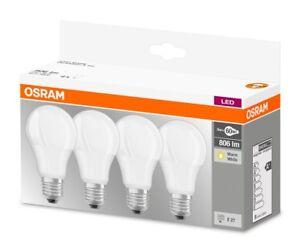 4er-Pack Osram LED BASE A60 E27 8.5W 2700K Warmweiß LED Lampe 60W Glühbirne