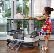 "Large 32"" Indoor 2-Level Guinea Pig Chinchilla Rabbit Cage Hutch Ferret House"