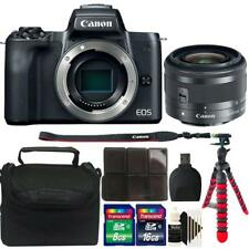 Canon EOS M50 Mirrorless Digital Camera + 15-45mm Lens Black 24GB Accessory Kit