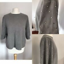 ZARA WOMAN Studded Sleeve Top Faux Suede Cropped Boxy Small 8 10