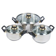 6 Pc Stainless Steel Cookware Set Saucepans Lid Cooking Food Frying Pans Seconds