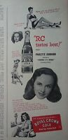 1947 Royal Crown RC Cola Soda Paulette Goddard Suddenly Its Spring Movie Star Ad