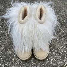 Ugg Australia Mongolian Boots Sz.7 Sand Tan Fur Leather Short Sherling Sheepskin