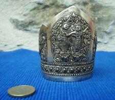 V23 Bracelet Manchette Argent Massif XIXe Indochine Asiatique Siam Thailande 53g