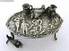Antique Continetal 800 Silver Figural Scene Minature Roccoco Table with Cat