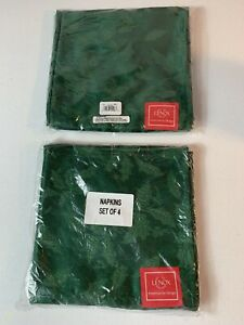 LENOX Green Holly Damask Cloth Napkins Dinner Napkins 2 SETS of 4 - New NWT