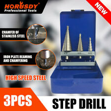 3Pc Step Cone Drill HSS Steel Titanium Bits Set Hole Cutting + Case 4-12/20/32mm