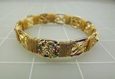 Child's Gold Tone Pink & Blue Colorful Enamel BANGLE Bracelet 21.7Grams