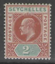 "Seychelles SG46a 1903 2c Castaño & Green ""abollada Marco"" MTD Menta"