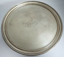 More details for a fine large english antique 18th cent georgian 1785 sterling silver salver tray