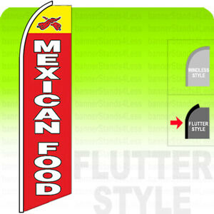 MEXICAN FOOD Swooper Flag Feather Banner Sign 11.5' Tall FLUTTER Style - rb